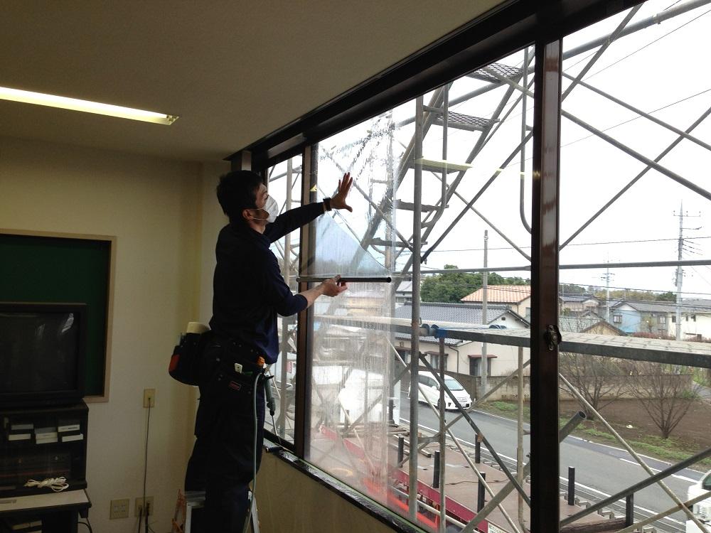 東京都 ウインドウフィルム施工 某教育施設 遮熱フィルム、飛散防止フィルム